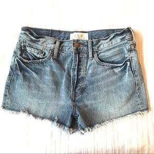 Free People Distressed Button Fly Jean Shorts